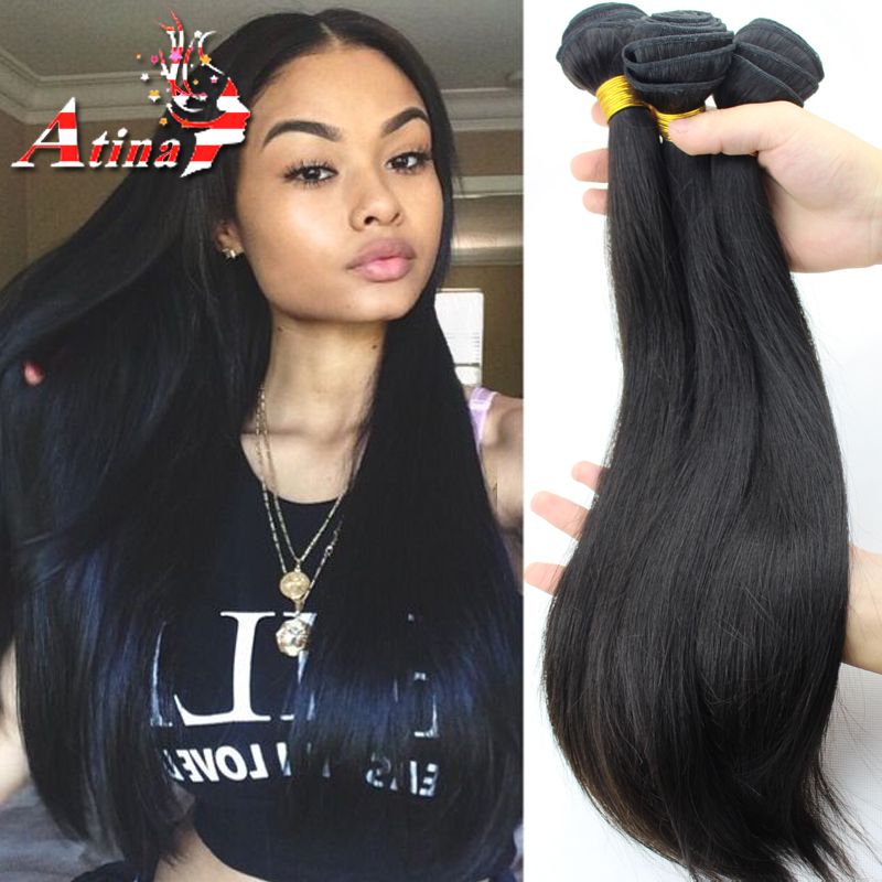 Us 98 04 43 Off Russian Virgin Hair Straight Bundles 3pcs Lot Unprocessed Virgin Russian Hair Extensions Natural Black Human Hair Weave Atina In 3 4