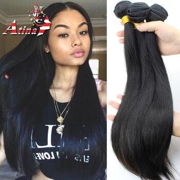 Russian Virgin Hair Straight Bundles 3pcs lot Unprocessed Virgin Russian Hair Extensions Natural Black Human Hair Weave Atina