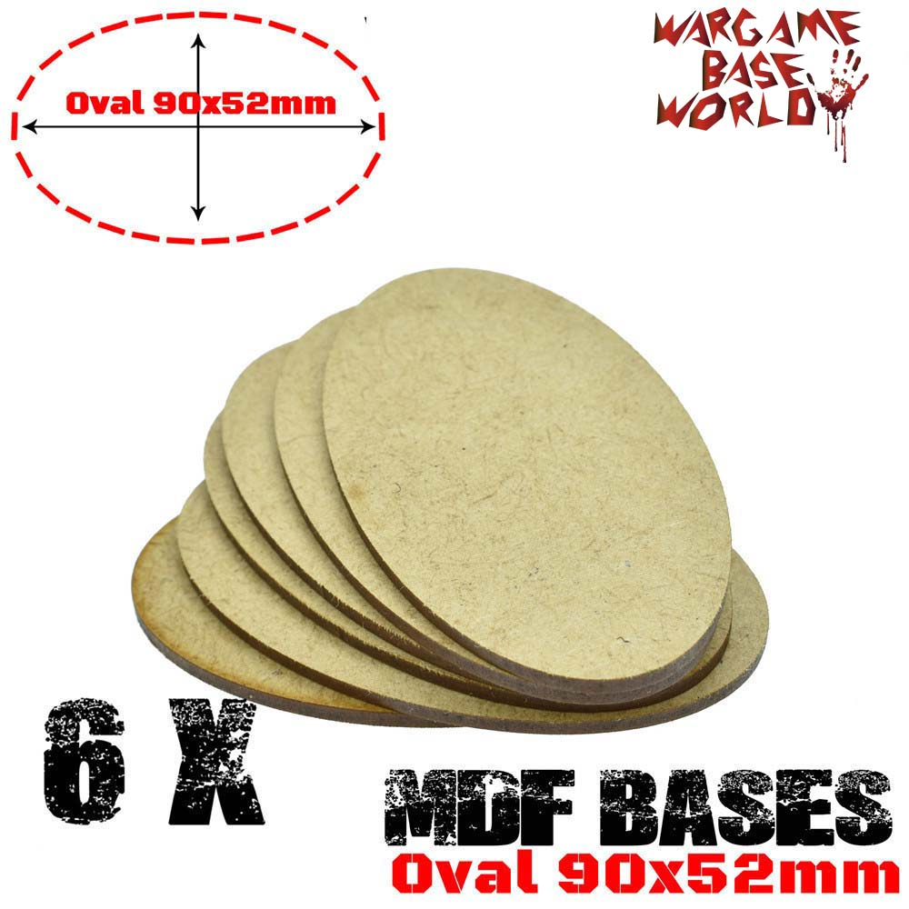 6x AOS MDF Bases - Oval 90x52mm Bases -  Laser Cut Wargames Wood - AOS Oval Bases