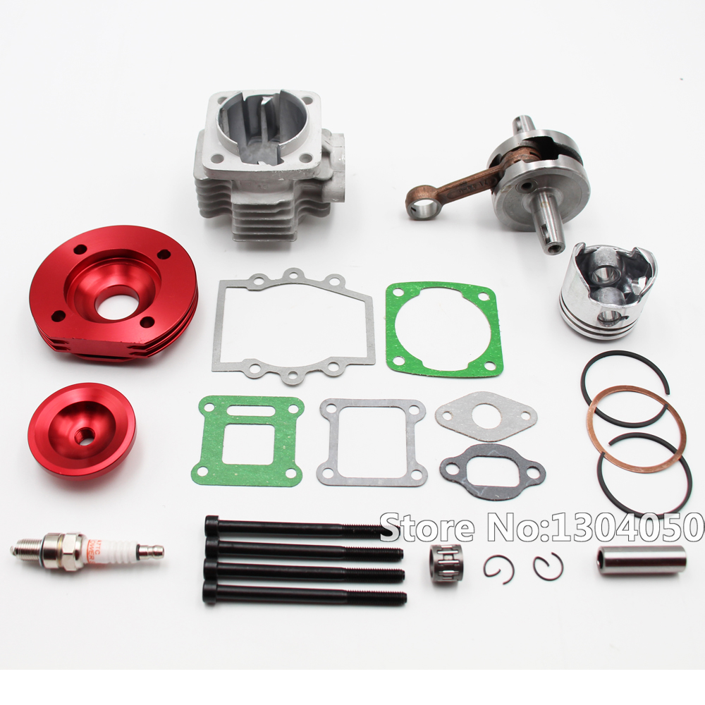 44MM BIG BORE TOP END KIT FULL CIRCLE CRANK SHAFT FOR ATV POCKET BIKE 49CC 2 STROKE STAGE 2 RED