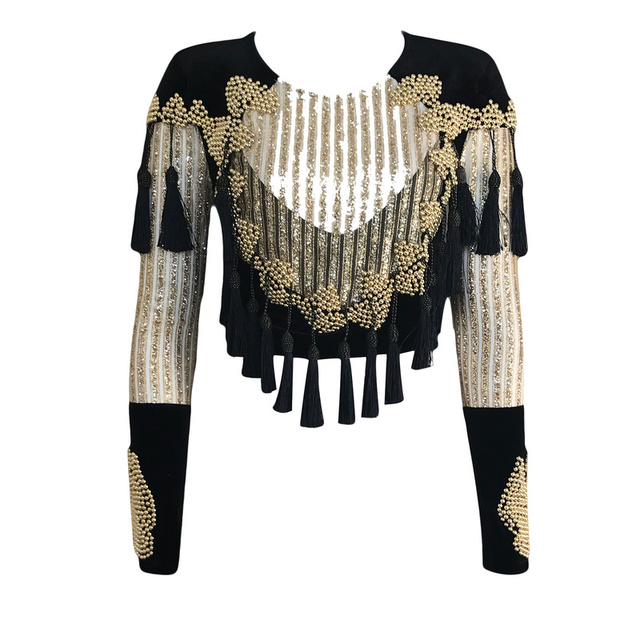 Free Shipping Bodycon Top Women Top 2017 Sequin Beaded Top Long Sleeve Crop Top Elegant Wholesale HL