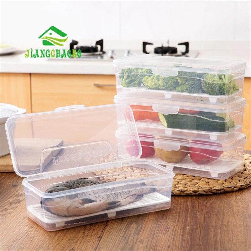 JiangChaoBo Plastic With Cover Refrigerator Drain Sealed Crisper Rectangular Fruit Box Transparent Tableware Storage Box