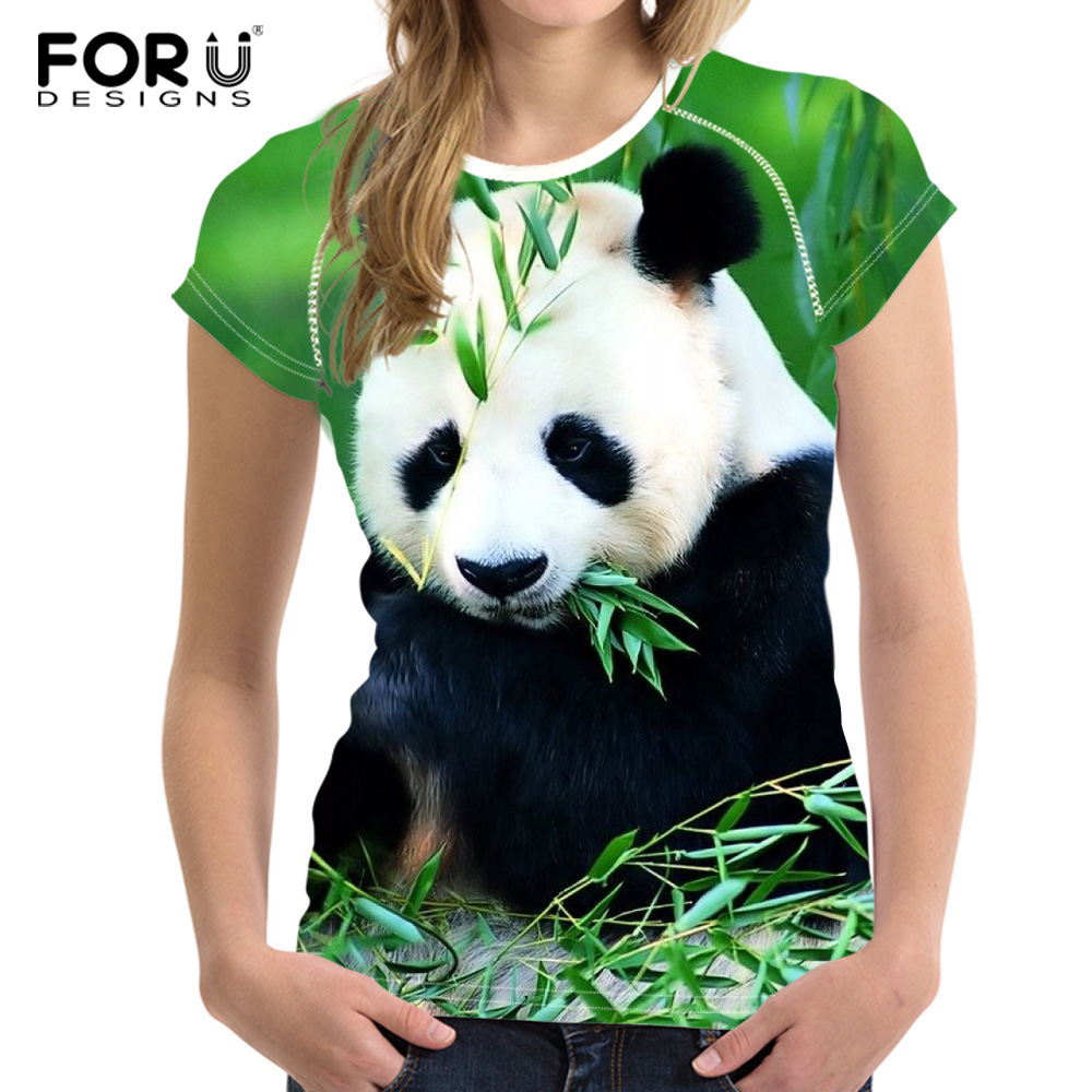 FORUDESIGNS 3D Panda T Shirt for Women Brand Clothing Female Short Sleeved Casual Tshirt Comfortable Elastic Hip Hop Tees Cloth