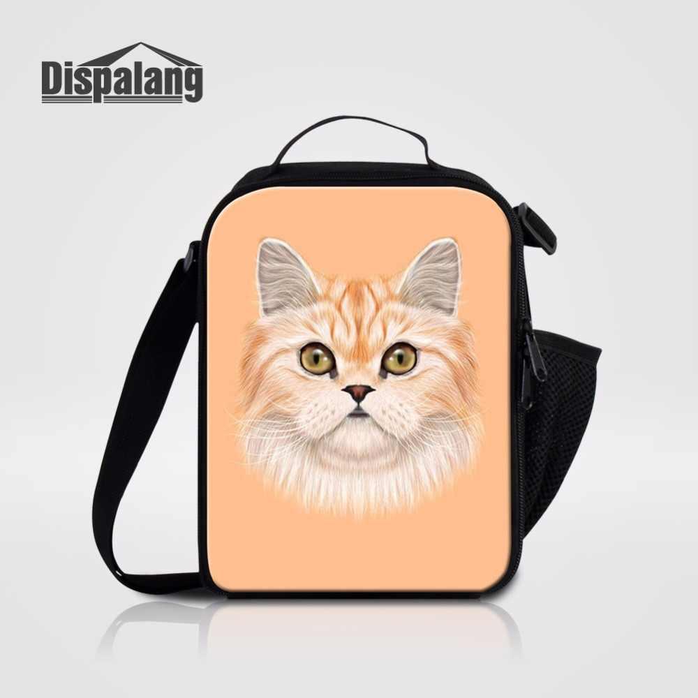 Dispalang Симпатичные кошки и собаки с принтом головы плечо Ланчбокс сумка-холодильник для завтраков сумки для пикника для мальчиков и девочек Термосумка для еды 25 цветов