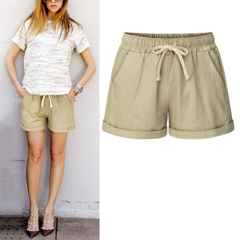 Summer Women Wide Leg   Shorts   Cotton High Waist Drawstring Pockets Girl Casual   Shorts   Plus Size M-6XL WML99