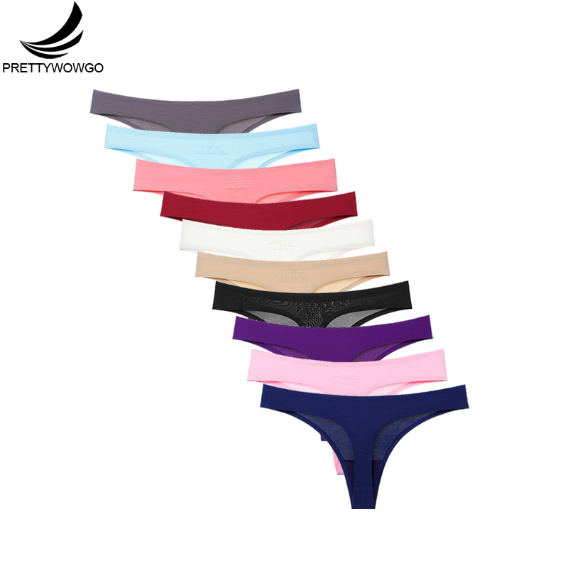 Prettywowgo Hot Sale 2019 Seamless Thong Women 11 Color Low Rise G String Seamless   Panties   Underwear M L XL XXL 0220
