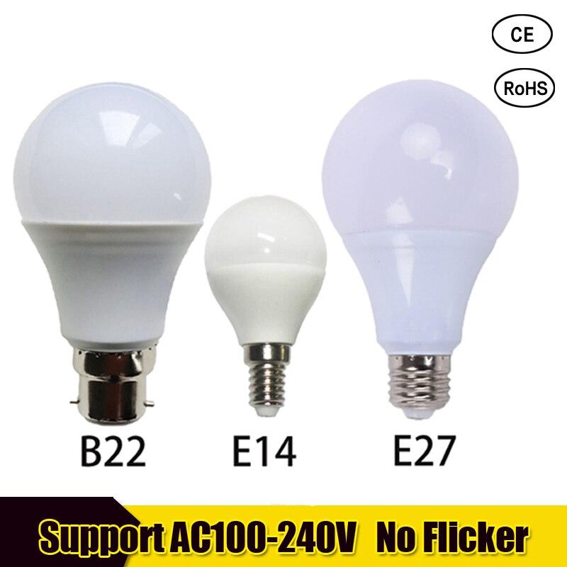 E27 Screw Bulb Cool White 3W 6W 9W 12W 15W 18W 21W 110V 220V Bayonet Bulb LED E14 LED Candle Bulb For Home Table Lamp