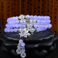 Korean fashion accessories all-match Natural Purple chalcedony Pendant Bracelet multilayer Retro Fashion For ladies Jewelry