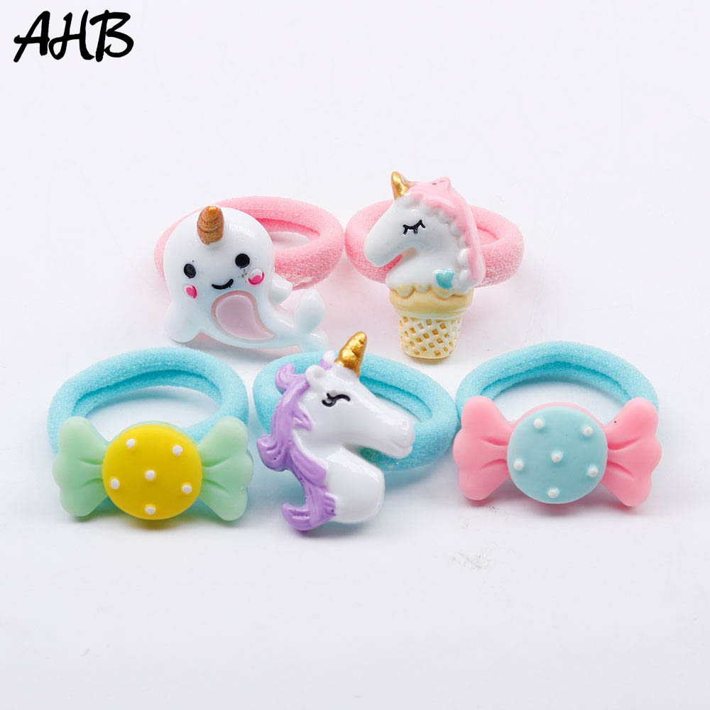 AHB 5pcs/lot Cartoon Unicorn Hair Rubber Band for Baby Girls Handmade Cute Nylon Hair Elastics Kids Hair Ropes Set Gift   Headwear
