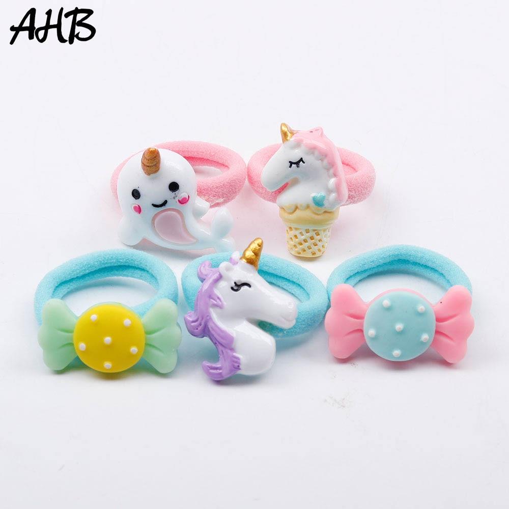 AHB 5pcs/lot Cartoon Unicorn Hair Rubber Band For Baby Girls Handmade Cute Nylon Hair Elastics Kids Hair Ropes Set Gift Headwear