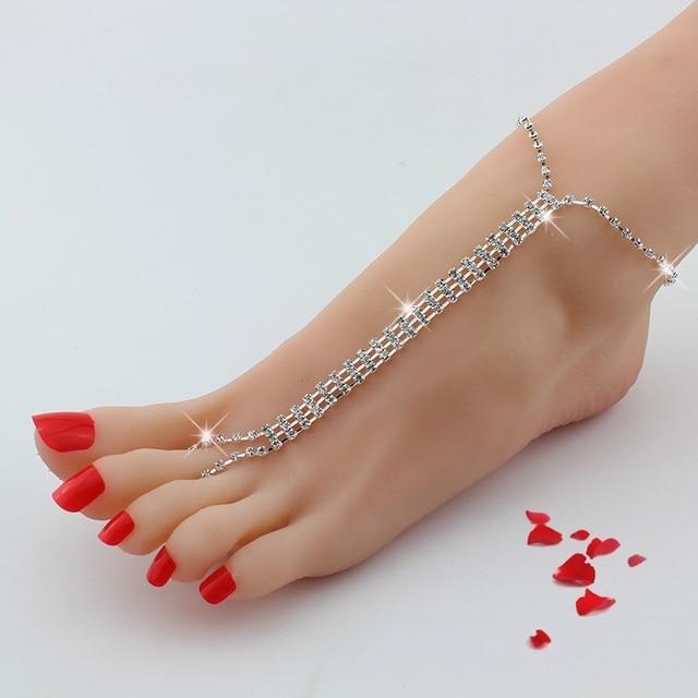 Crystal Feet Barefoot Fashion Bride Anklet Wedding Sexy Leg Chain Female Multi Layer Rhinestone Long