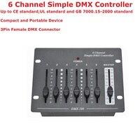 1 xlot 무료 배송 6 채널 간단한 dmx 컨트롤러 무대 콘솔 제어 dmx 파 빛 led 이동 헤드 조명 레이저 조명