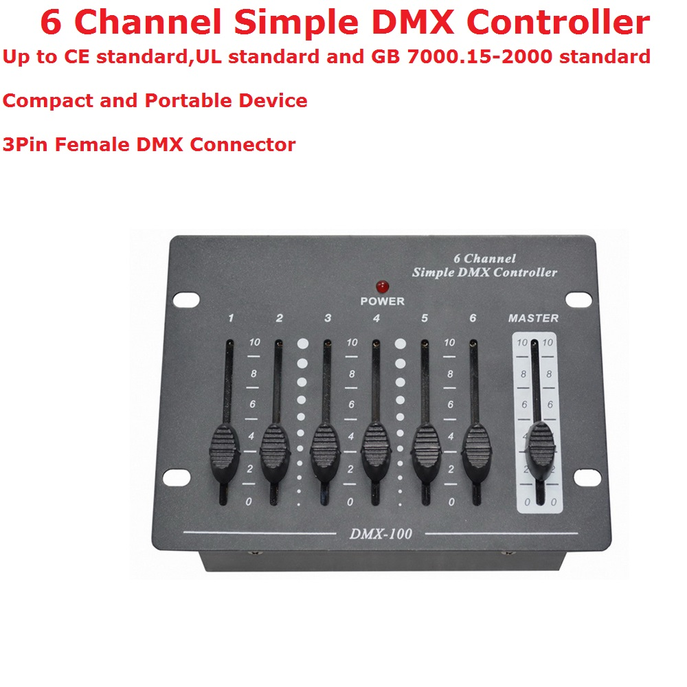 1XLot Free Shipping 6 Channel Simple DMX Controller For Stage Console Control DMX Par Light LED Moving Head Lights Laser Lights