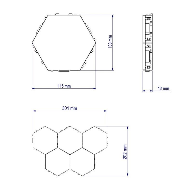 modular hexagons magnéticos decoração criativa parede lampara
