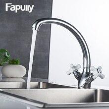 Fapully смеситель для кухни воды Двойная ручка 360 Вращение холодной и горячей воды torneira Cozinha