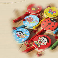 Mini Kids Percussion Toy Wood Developemental Eductional Hand Bell Drum Rattle Drum(China)