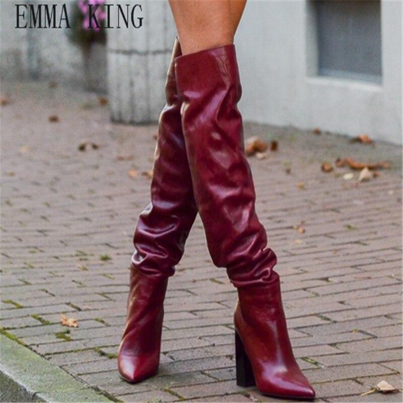 Printemps Longue Femmes Picture Rouge Bottes Épais Sur Nouvelle Grande 35 Taille 43 Talons Hauts Givré As Genou Europe Chaussures Le À xUY4YfqI
