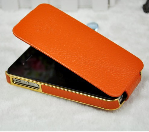Luxury Electroplate Genunie Leather Flip Case For iPhone 4S Full Protective Cover