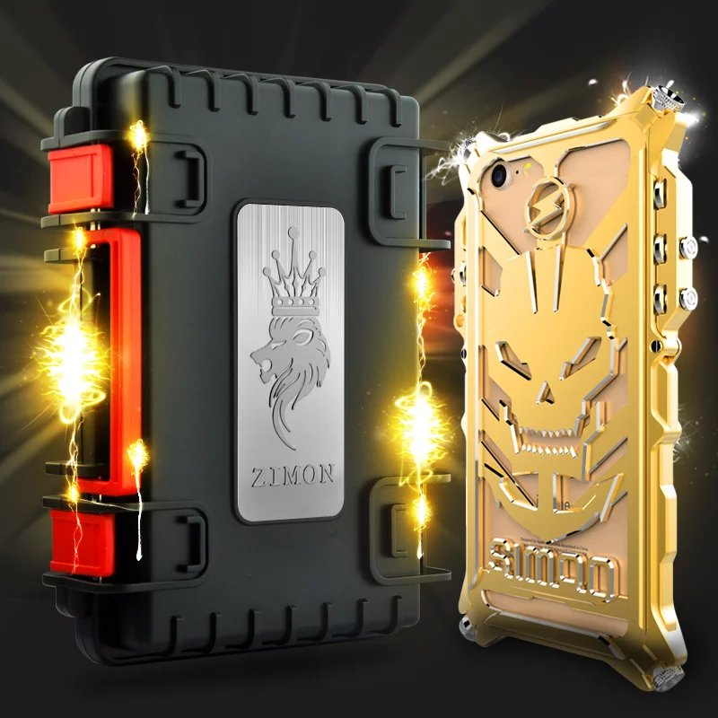 For IPhone 7 7 8 Plus Heavy Metal Body Cases Zimon Mechanical Arm Punk Aluminum Powerful Cover Cases For IPhone 6s 7 8Plus