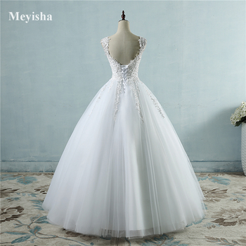 ZJ9076 Ball Gowns Spaghetti Straps White Ivory Tulle Wedding Dresses 2019 with Pearls Bridal Dress Marriage Customer Made Size 4