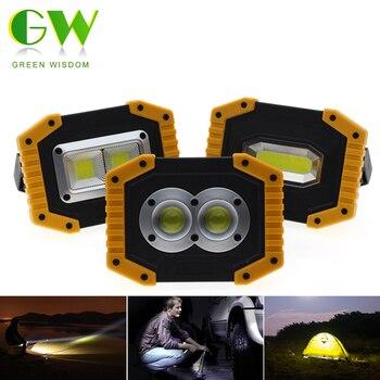 Luz de trabajo con reflector LED con carga USB, foco recargable, batería 2*18650 o 4 * AA, luces de inundación al aire libre para Camping de emergencia