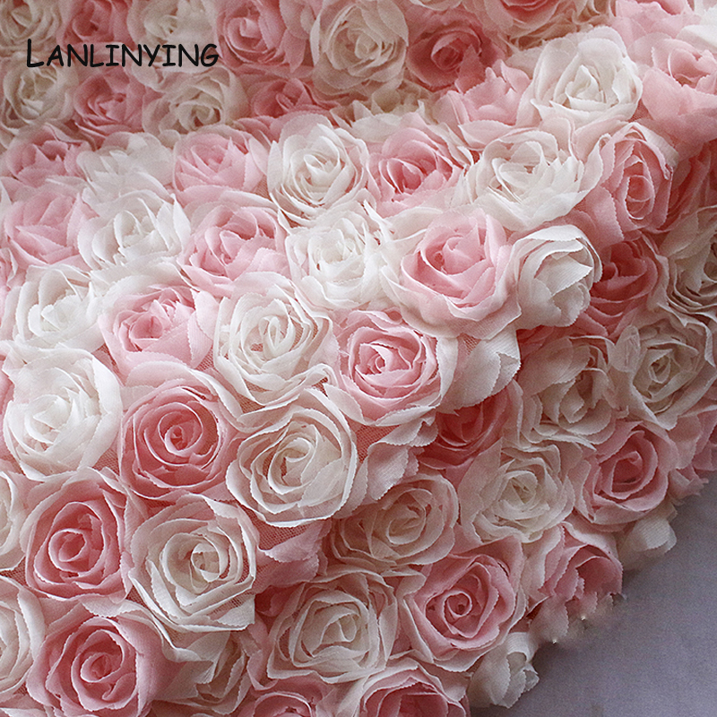 LANLINYING High Quality Original 3D Rose Designer Fabric Creative Fashion Mesh Dress Wedding Decoration Background Cloth