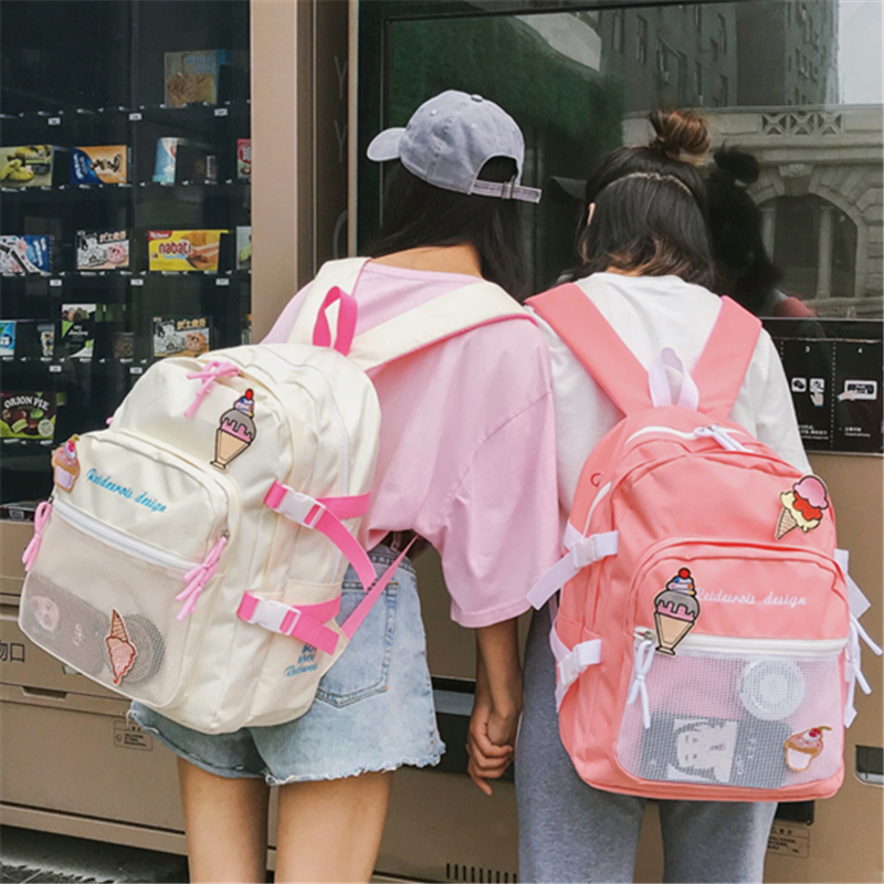 Cute Ice cream Schoolbags Harajuku Fashion Casual Street Korean girls Bags  Laptop Backpack Mochilas Canvas Backpack Travel Trend 79fffedec8