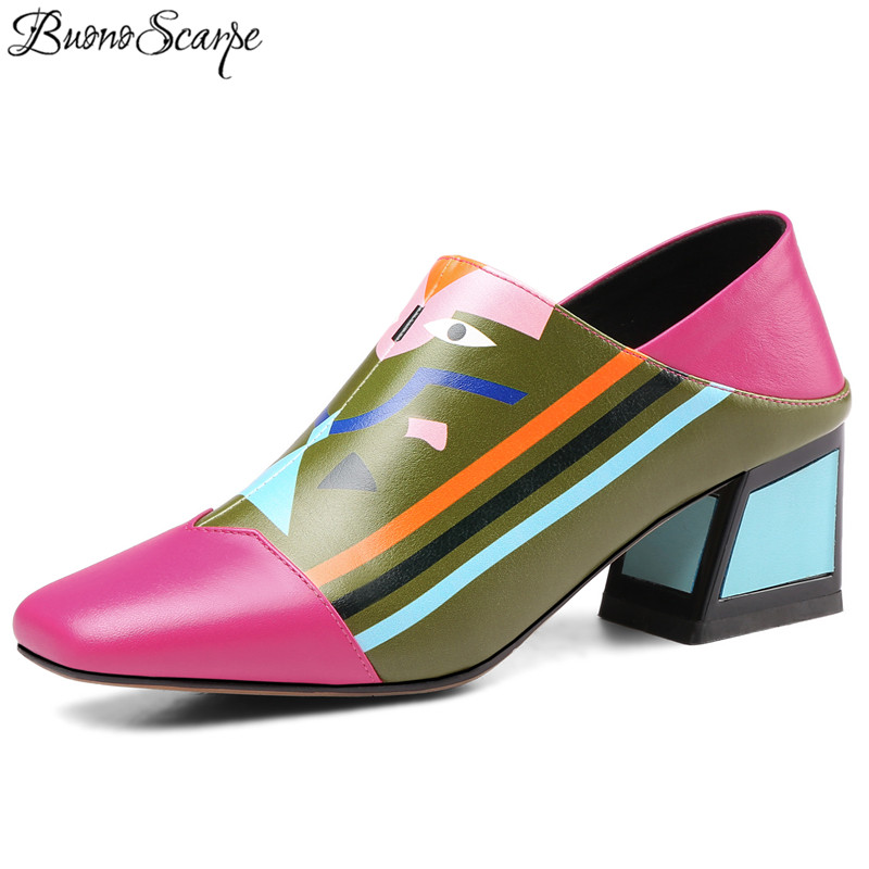Buono Scarpe Spring Summer Printed Patchwork Women Pumps Chunky High Heel Slipper Shoes Genuine Leather Totem