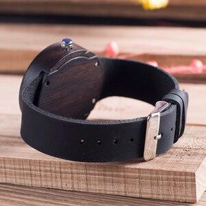 Image 5 - BOBO BIRD C03 Ebony Wooden Watch with Soft Leather Band Quartz Gold Analog Calendar High Quality Miyota Movement Accept OEM