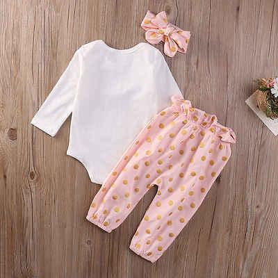 3 piezas nuevo lindo bebé recién nacido Niñas Ropa verano conejo manga larga bodysuit arco mono pantalones conjuntos