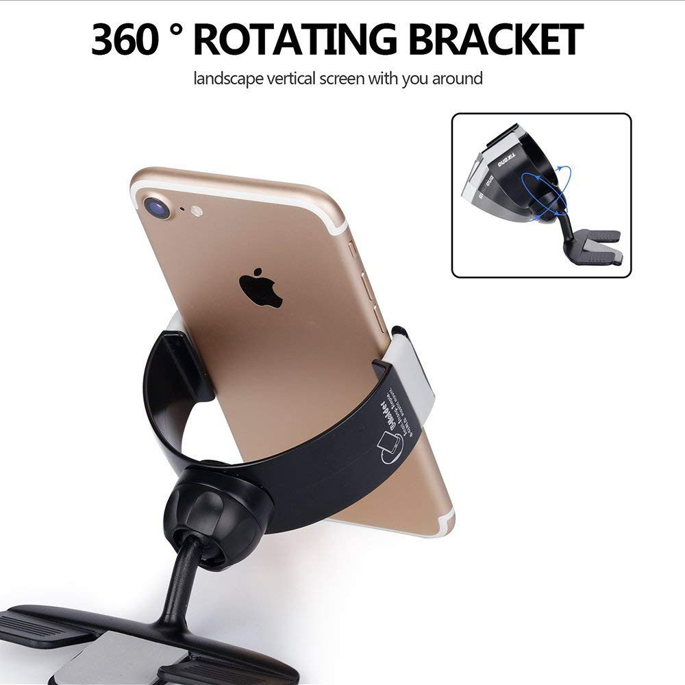 Vehicle Mounts, 360 CD Slot Mobile Phone Holder In Car,Universal Tumbler Holder Stand Cradle Mount For GPS IPhone MI Car Kits