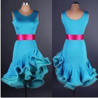 Blauw geel rood zwart volwassen concurrentie latin dance dress vrouwen ballroom samba rokken dancing hot kostuum dance latin dress