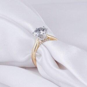 Image 2 - Transgems 14K 585 Two Tone Oro Moissanite Anello di Fidanzamento per Le Donne Centro 2ct 8 millimetri F Colore Moissanite Oro anello con Accento