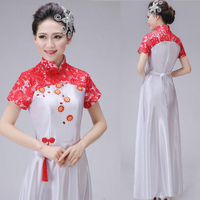 Women New Stage Clothing Chinese Folk Dance Dress Traditional Chinese Dance Show Female Chorus Guzheng Performance Outfits