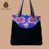 Folk embroidery women handbags Fashion black canvas Vintage Leather tape casual Large size totes