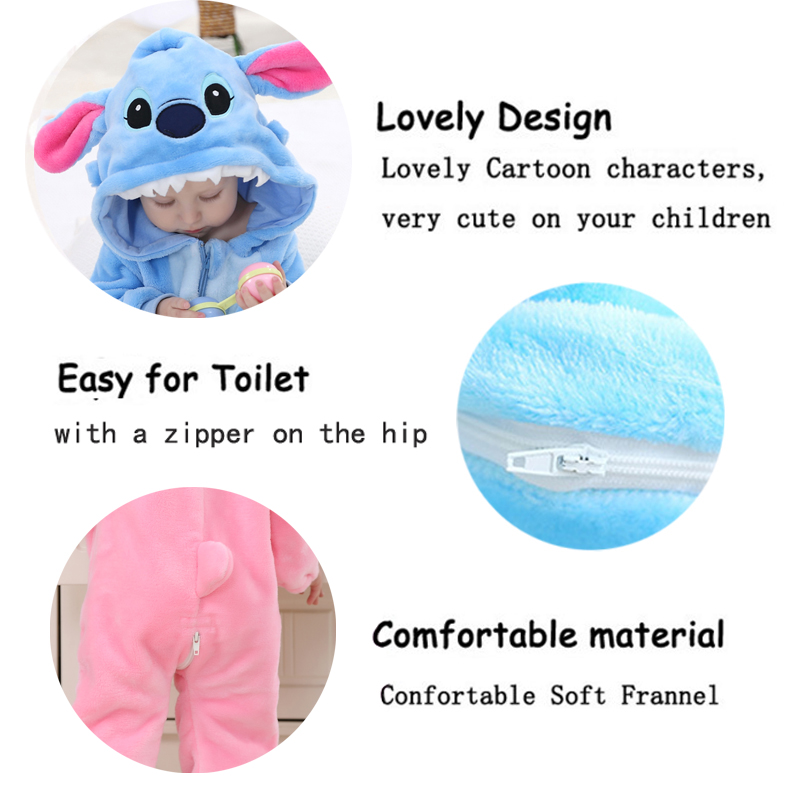 0 2 Years Old Baby Girls Boys Romper Newborn Jumpsuit Long Sleeve Blue Stitch Baby Clothes 2 Colors One Piece Suit Baby Clothing in Rompers from Mother Kids
