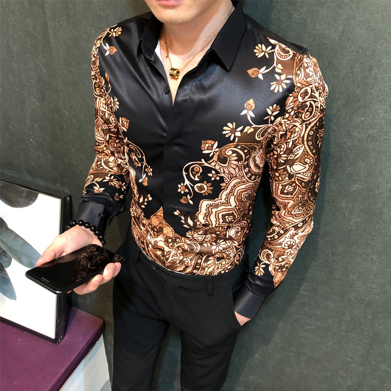 FRPE-Men Slim Fit Stylish Flower Printed Short Sleeve Single Breasted Shirt