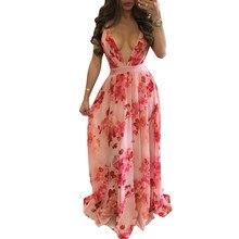 Floral Vintage Imprimir Solto Boho Maxi Vestido Sexy V Profundo Neck Lace Up Longo Mulheres Vestidos Retro Voltar Cruz Bandage vestidos de verão
