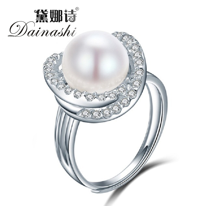 White Pink Purple Natural Freshwater Pearl Wedding Ring Adjustable Rings For Wife Hot Sale