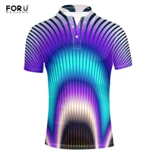 FORUDESIGNS  Shirt Casual Striped Print Summer Top Tees Round Collart Button Loose Short Sleeve Shirts Adult Homme 2018