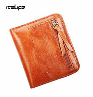 Oil Wax Leather Wallet Female Wallets With Zipper Coin Bag Genuine Leather Women Wallets Small Short