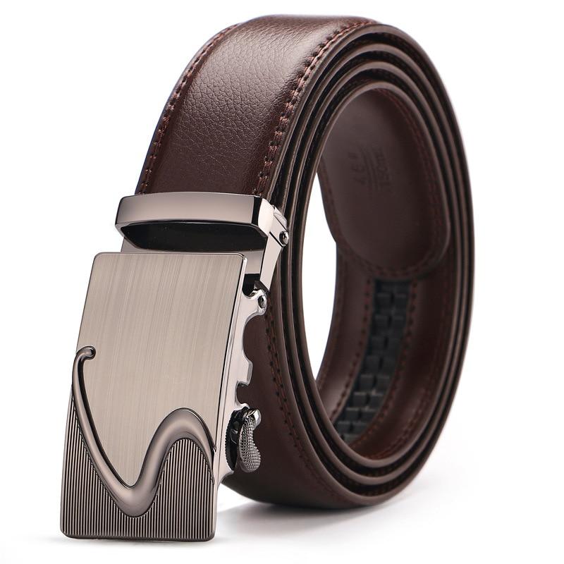 Mens Fashion Genuine Leather Famous Brand Men Brown Belt silver Gold Automatic Buckle Luxury Black Strap Designer belt