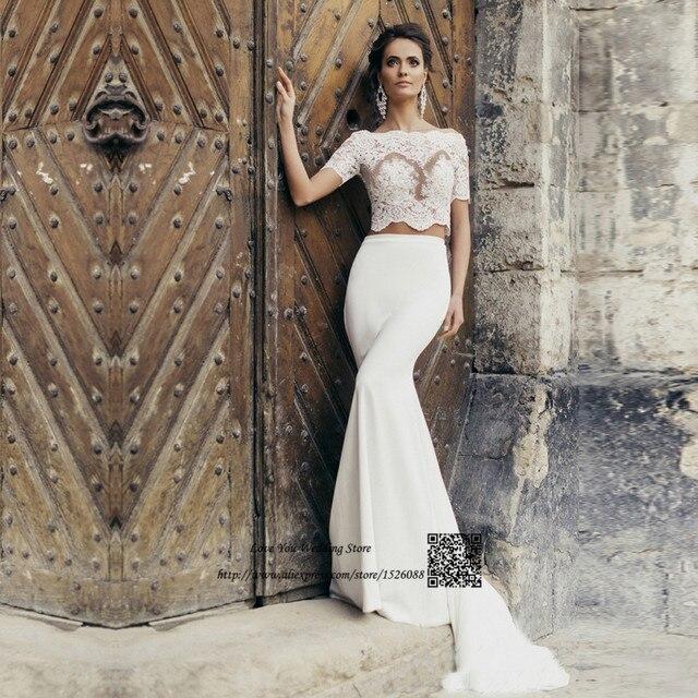 Sexy Vintage 2 Stuck Hochzeit Kleid Spitze Arabischen