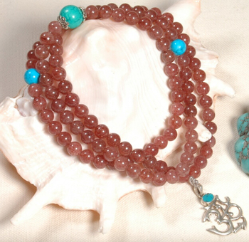 Tibetan Mala Natural Strawberry Quartz 108 Beads Mala Tibetan 925 Silver OM Pendant