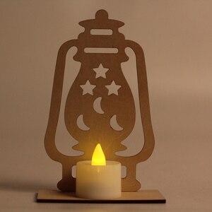 Image 4 - Wooden Ramadan Eid Mubarak Decorations led night ligths Home Moon Star LED Candles Light Muslim Islam Hanging Pendant Decor