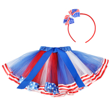 цены 4th Of July Girl Tulle Tutu Skirt Headband 2pcs Sets Toddler Baby Girls Clothes Blue White Red Kids Mini Mesh Rainbow Pettiskirt