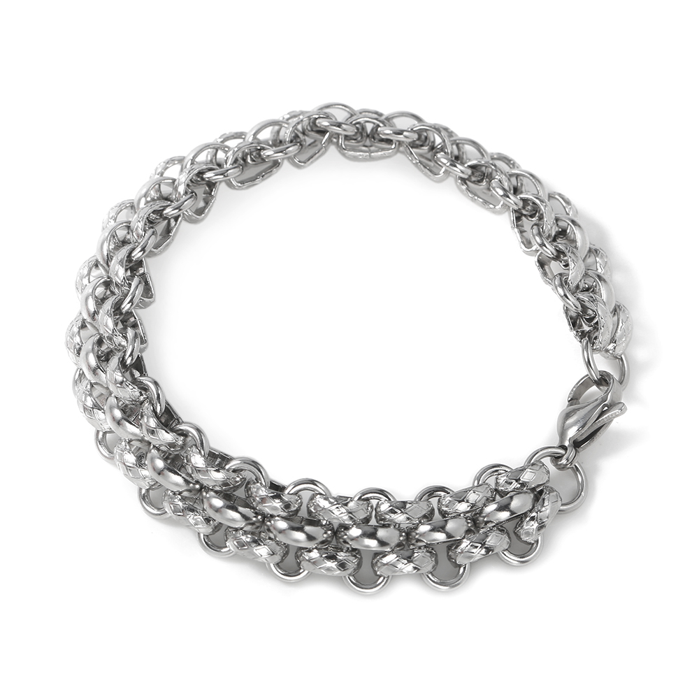 TL Steel Simple Chain Link Charms Bracelet for Women Silver Color Stainless Steel Jewelry Strand Bracelet