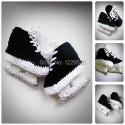 مزلجات هوكي للأطفال حذاء كروشيه أسود ، حذاء كروشيه لحديثي الولادة ، حذاء للأطفال ، أحذية للأطفال ، أحذية للأطفال الرضع ، هدية لحديثي الولادة