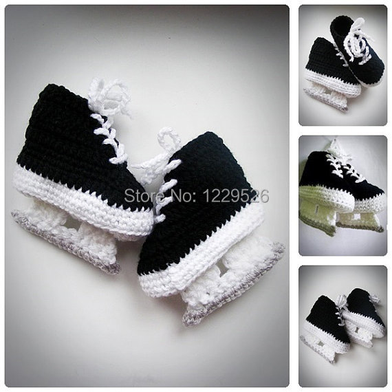 Baby Hockey Skates black  Crochet Booties, Newborn Crochet Shoes, Infant Booties, Baby Shoes, Boots for babies, Baby shower gift
