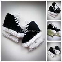 Baby Hockey Skates schwarz Häkeln Booties, neugeborenen Häkeln Schuhe, Säuglingsbeuten, Babyschuhe, stiefel für babys, Baby dusche geschenk